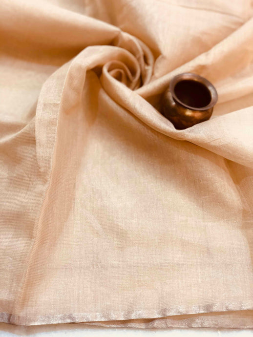 Pinkish Nude Tissue Chanderi Fabric
