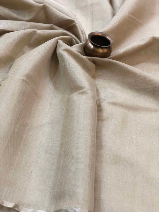 Beige + Silver Border Tissue Chanderi Fabric