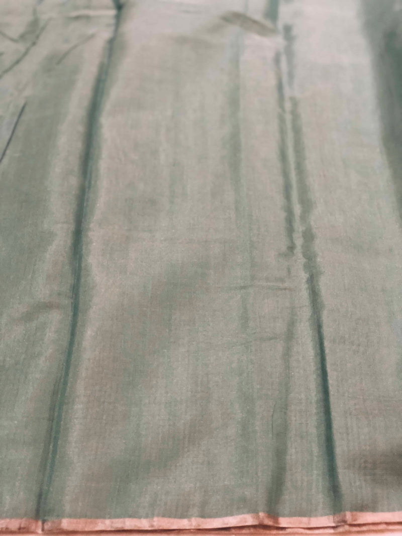 Pale Green-Blue Tissue Chanderi Fabric