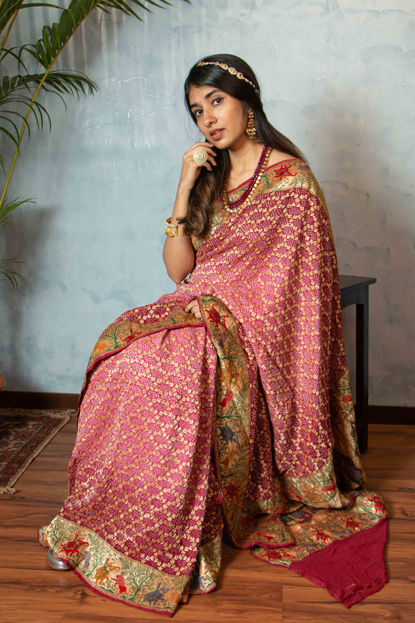 Banarasi Handwoven Paithani with Bandhej Georgette Saree