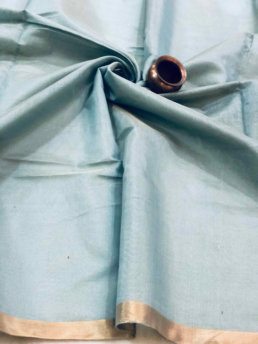 Powder Blue Tissue Chanderi Fabric