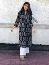 Ajrakh Midnight Pleated Kurta