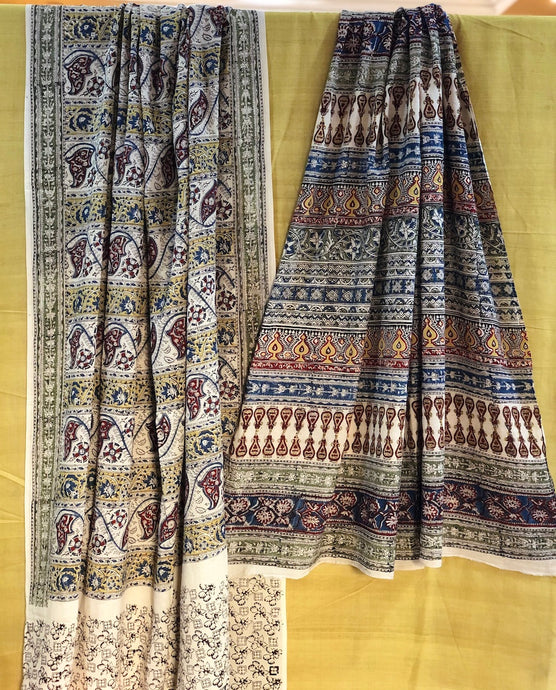 Ivory Jaal  Kalamkari Mul Cotton Saree | Natural Dyed