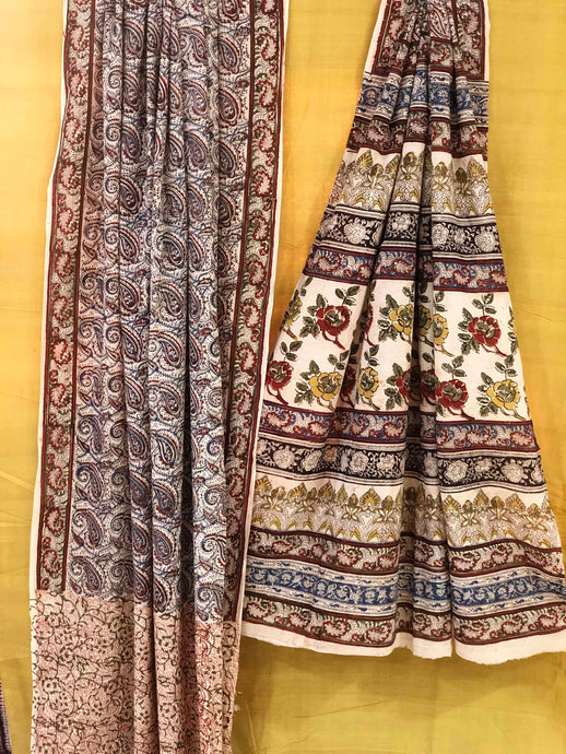 Gulab Jaal Kalamkari Mul Cotton Saree | Natural Dyed