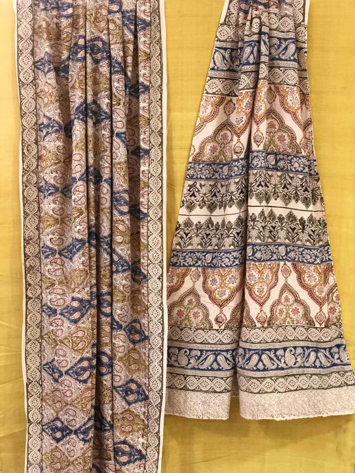 Mustard Ivory Kalamkari Mul Cotton Saree | Natural Dyed