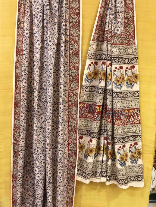 Pastel Kairi Kalamkari Mul Cotton Saree | Natural Dyed