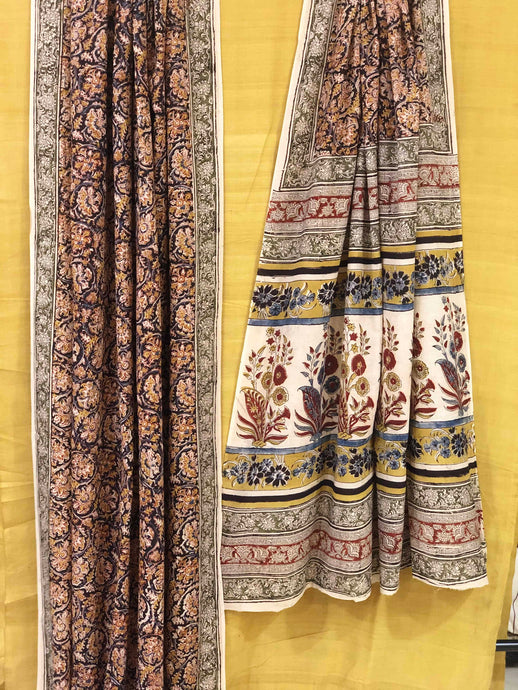 Black Floral Kalamkari Mul Cotton Saree | Natural Dyed