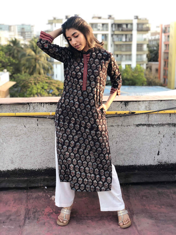 Ajrakh Midnight Madder Collared Kurta