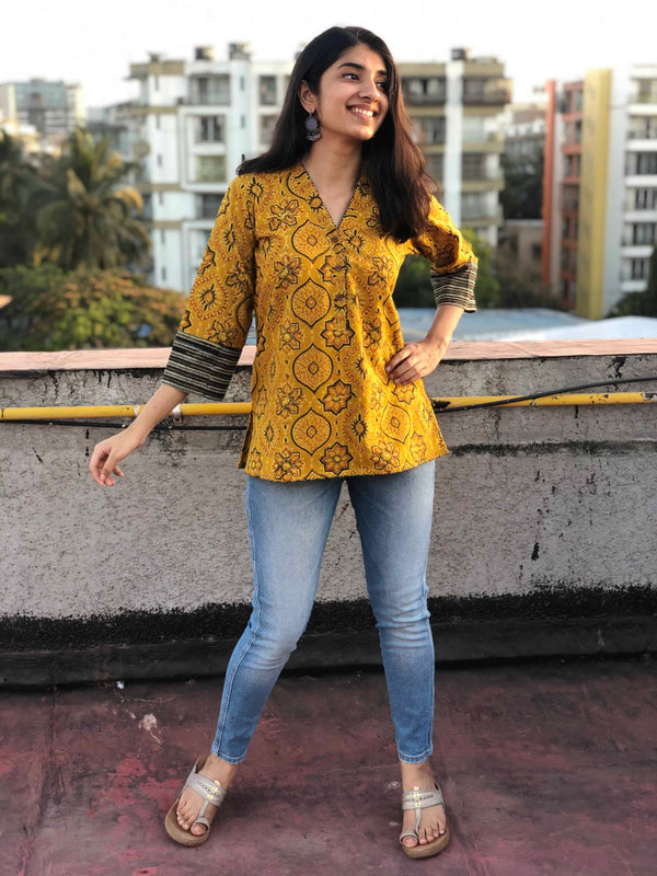 Ajrakh Mustard Short Top