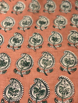 Malkha Orange Paisley Block Print Fabric