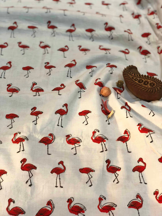 Flamingo Block Print Fabric