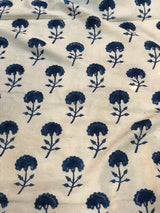 Indigo Flower Light Beige Base Block Printed Cotton Fabric