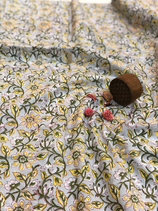 Phool Jaal  Sanganeri Mul Cotton Fabric