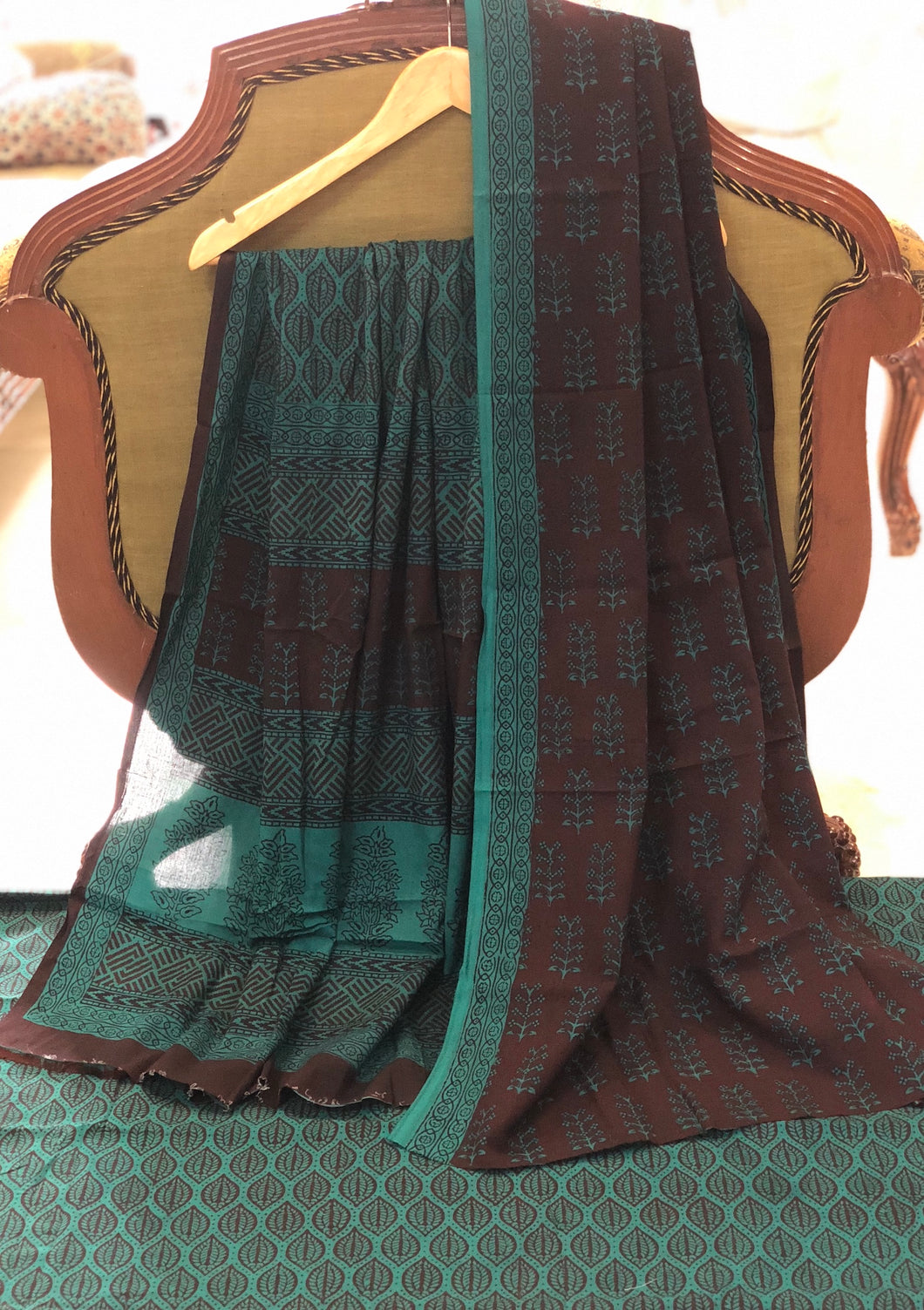 Bagh Sea Green Cotton Suit Set