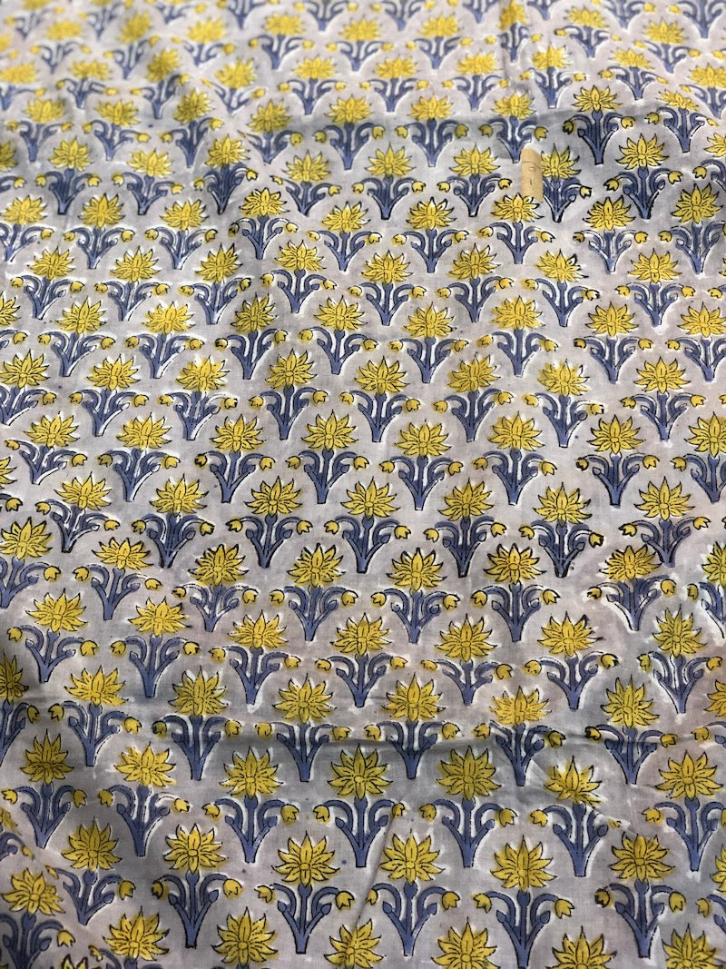 Yellow Butti Sanganeri Mul Cotton Fabric