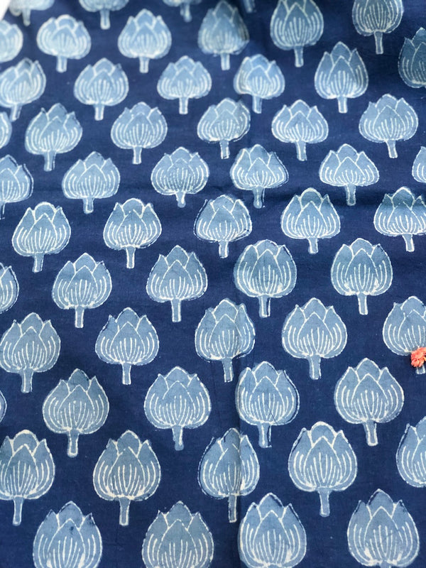 Indigo Kamal Dabu Cotton Fabric