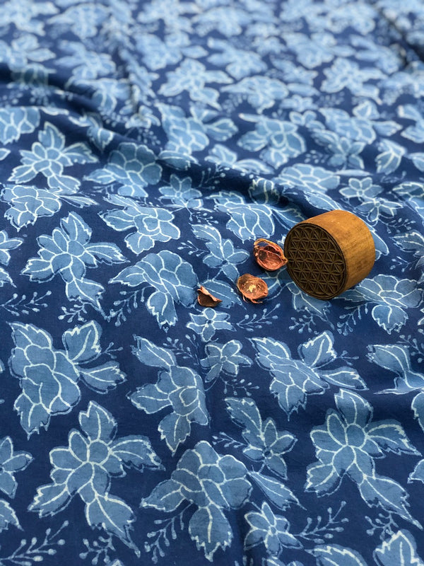 Indigo Gulab Dabu Cotton Fabric