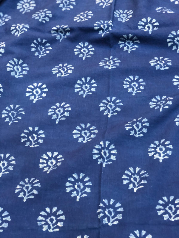 Indigo Genda Phool Dabu Cotton Fabric