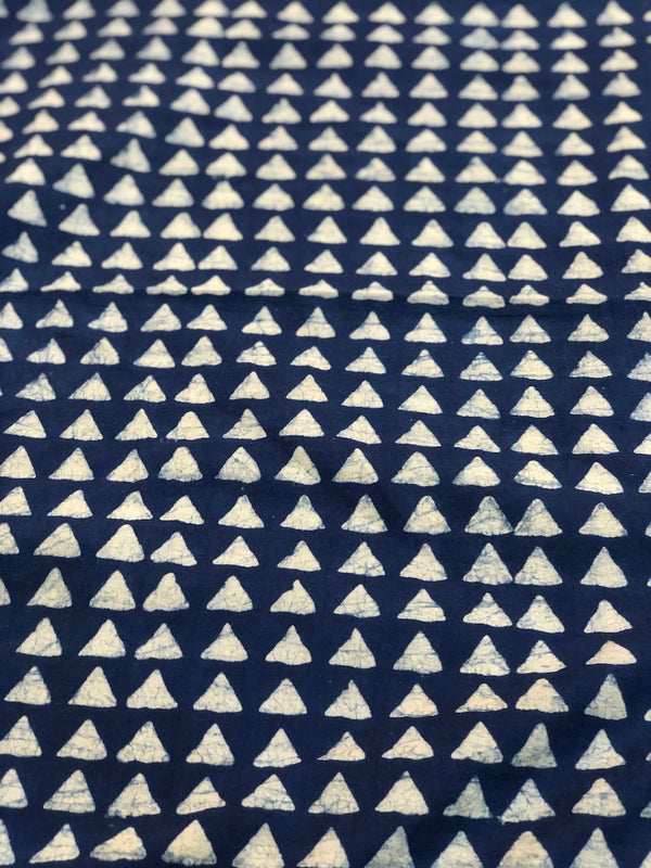 Indigo Trikon Dabu Cotton Fabric