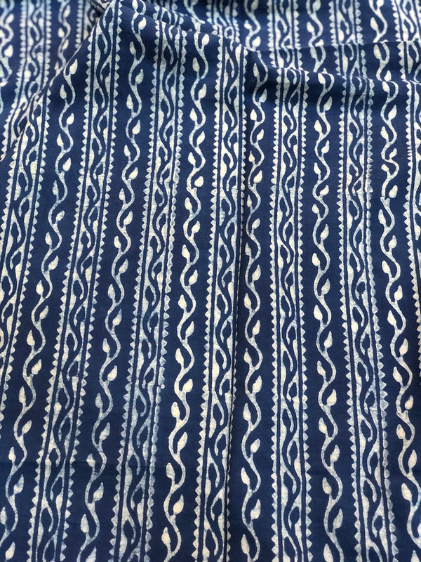 Indigo Border Dabu Cotton Fabric