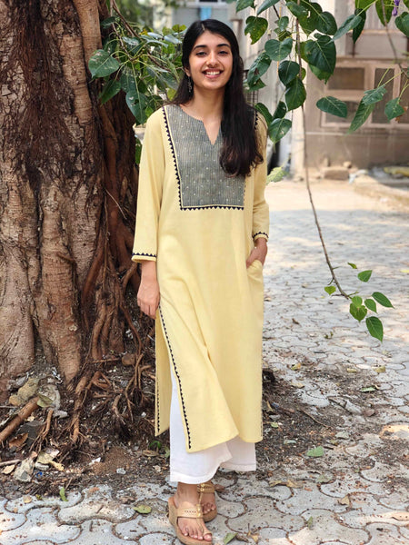 Lemon Handwoven Hand Emboridered Kurta with Hand Zari Work