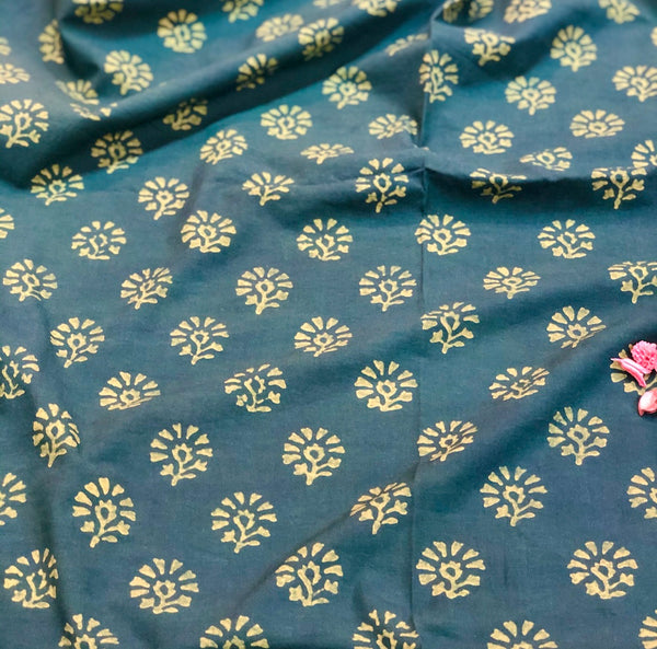 Henna Genda Phool Dabu Cotton Fabric