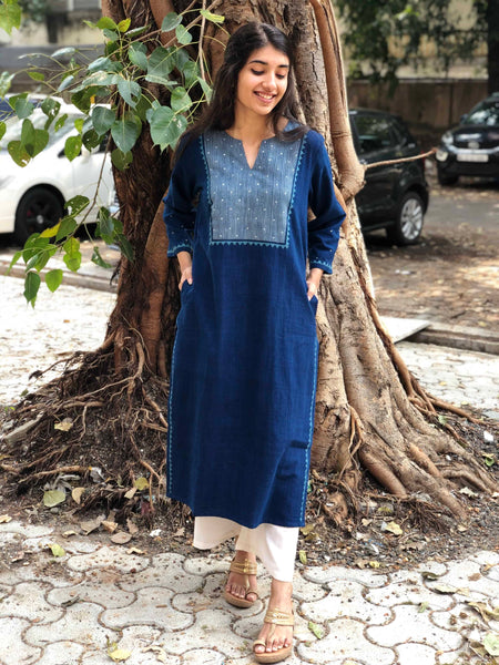 Indigo Handwoven Hand Embroidered Kurta with Hand Zari Work