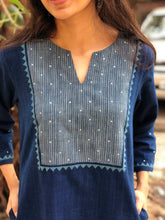 Indigo Handwoven Hand Embroidered Kurta with Hand Zari Work | Organic Cotton