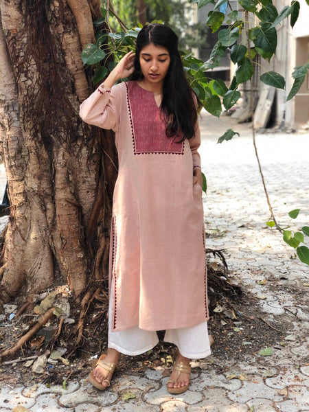Blush Handwoven Hand Emboridered Kurta with Hand Zari Work