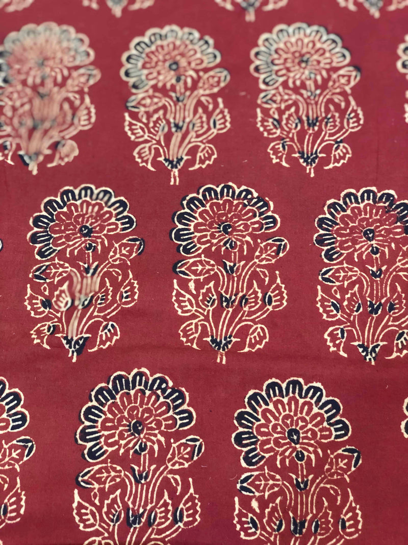 Maroon Phool Boota Block Print Fabric