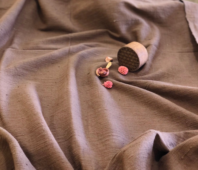 Organic & Natural Dyed Thick Coffee Handloom Fabric