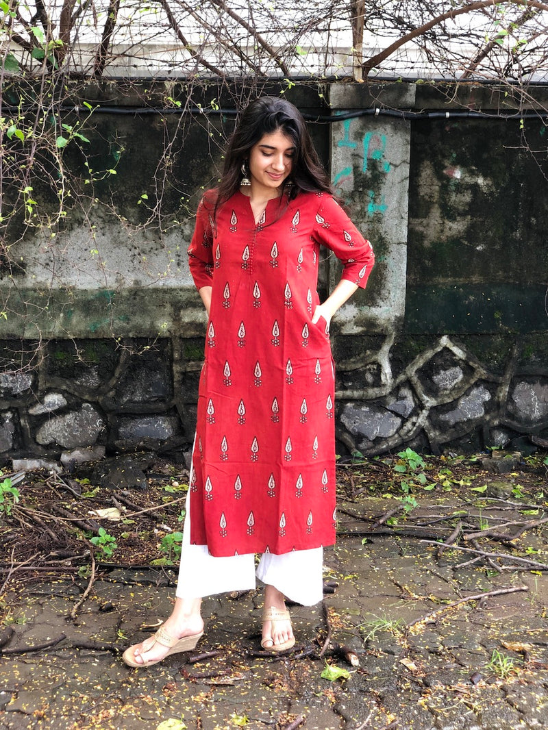 Theea Cherry Madder Handblock Cotton Kurta