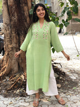 Mint Green Floral Handwoven  Hand embroidered Kurta