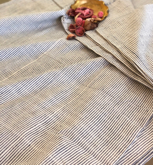 Organic & Natural Dyed Ivory Vertical Stripes Handloom Fabric