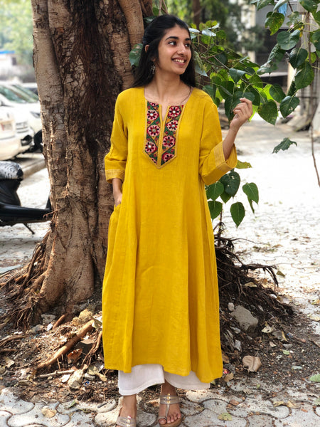 Yellow Hand Embroidered Yoke Kali Kurta