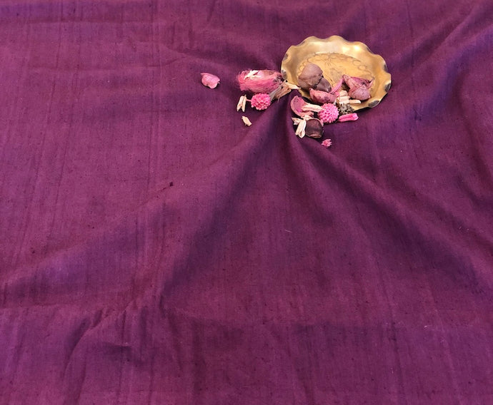Organic & Natural Dyed Aubergine Handloom Fabric