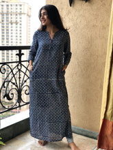 Indigo Hand Block Printed Long Kurta