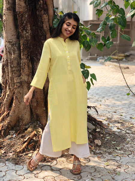 Powder Yellow Handwoven  Kurta