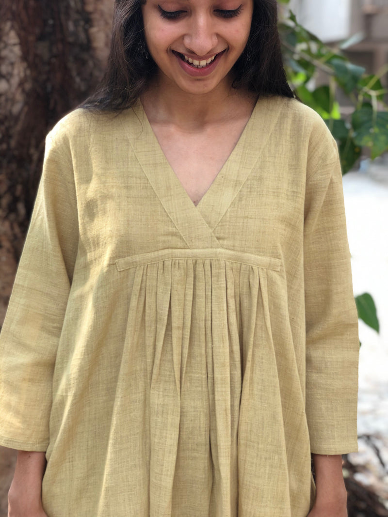 Olive Handwoven Pleated Kurta Natural Dyed & Organic Cotton