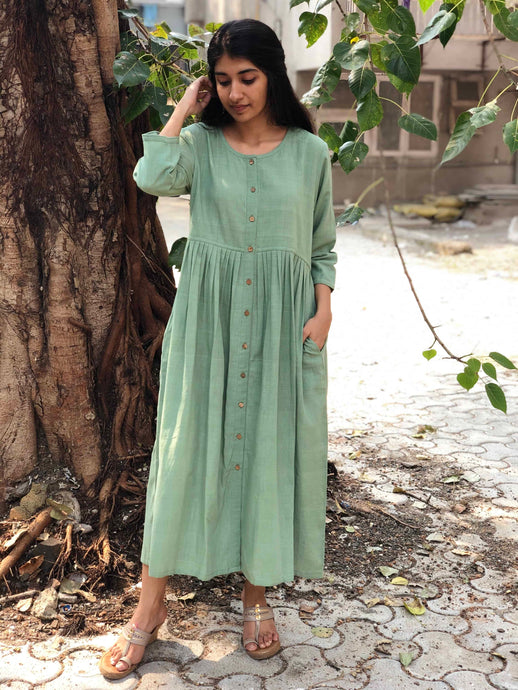 Olive Dust Pleated Handwoven Dress