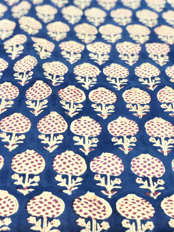 Blue poppy Print Fabric