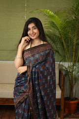 Ajrakh Maheshwari Silk Natural Dyed Saree
