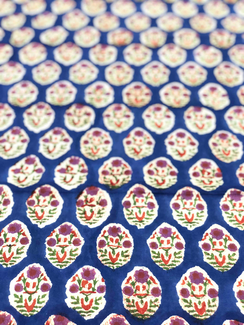 Blue Floral Block Print Fabric