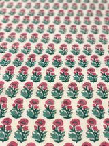 Pink and Green Flower Motiff Block Print Fabric