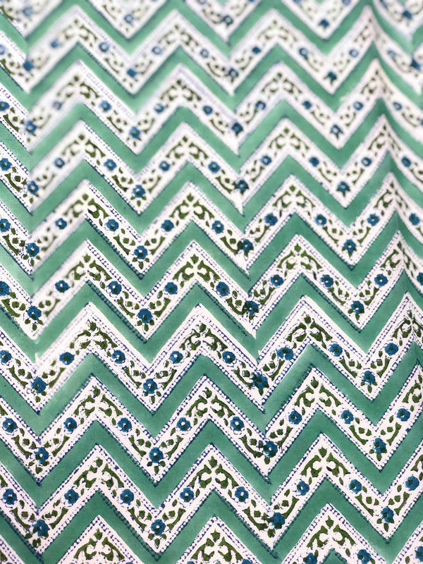 Green ZigZag Motiff Block Print Fabric