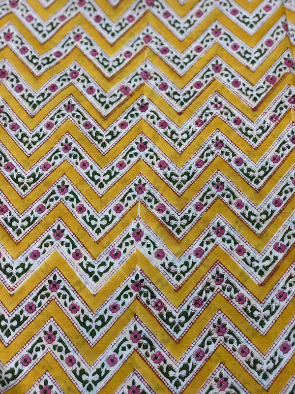 Yellow ZigZag Motiff Block Print Fabric