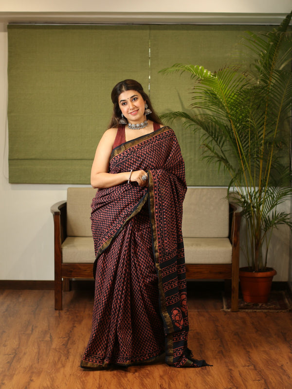 Pharad Hand Block Printed Cotton Saree