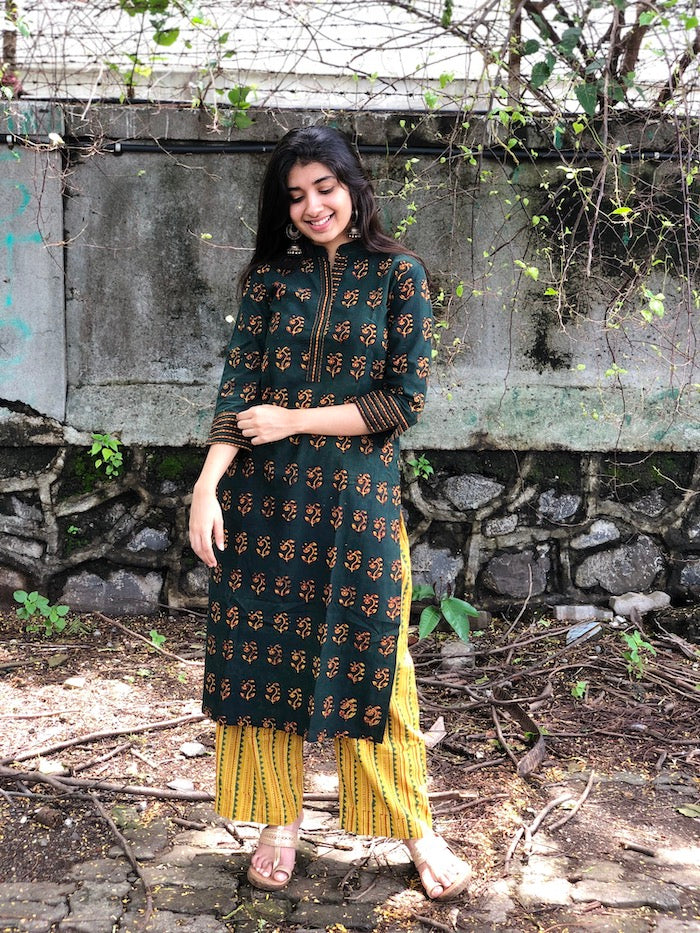 Zareen Handblock Cotton Kurta