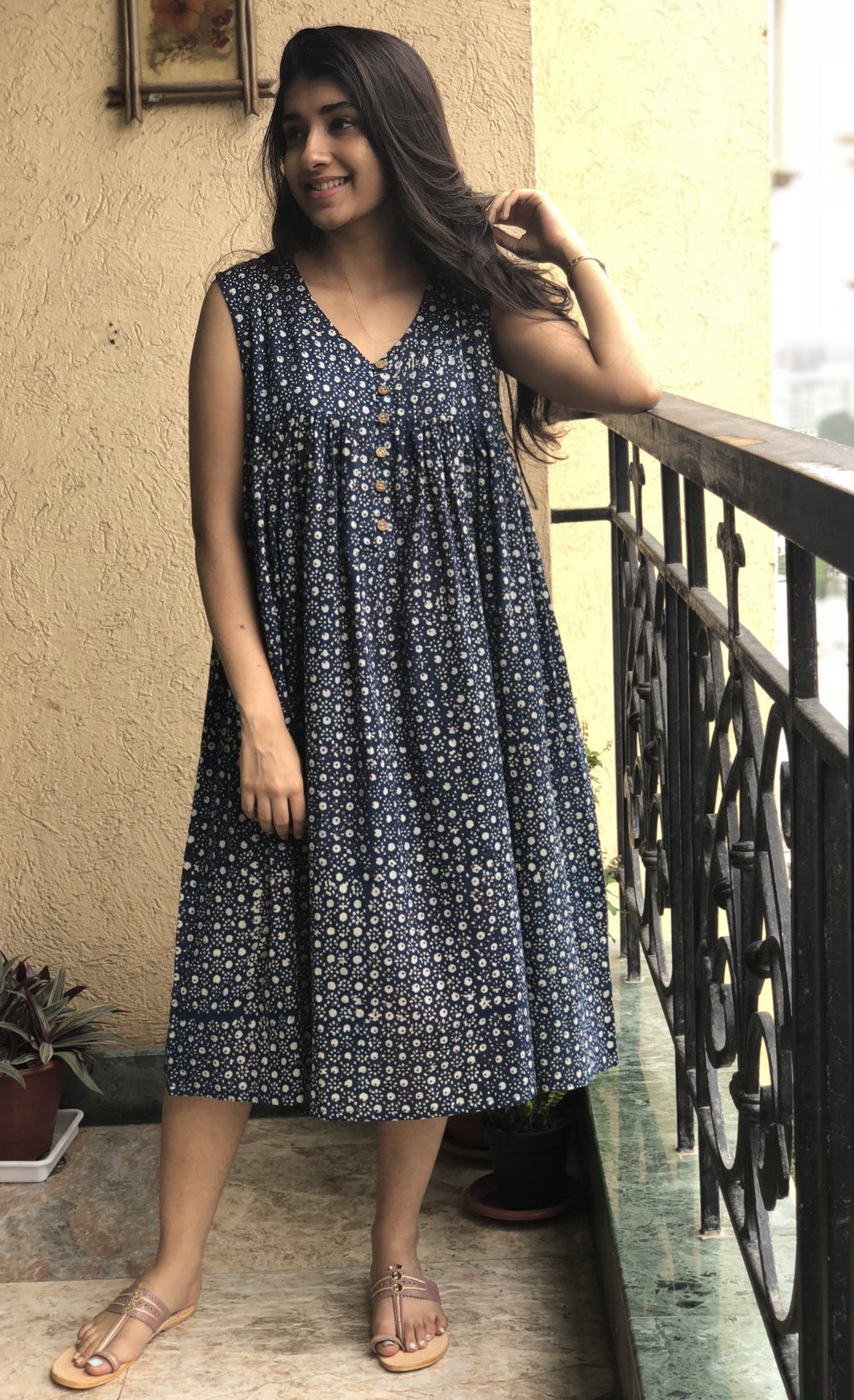 Indigo Block Print Short Dress