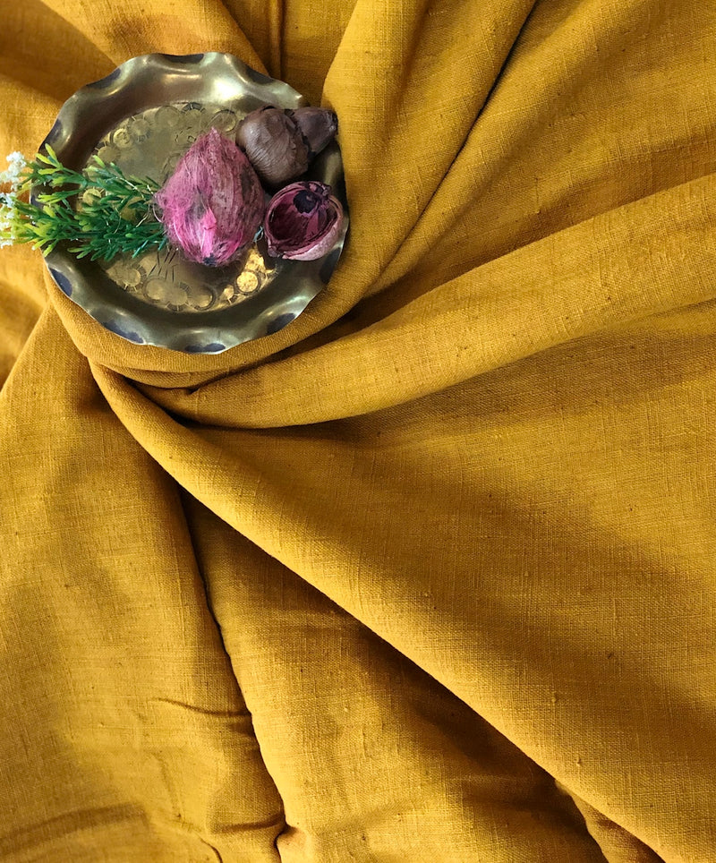 Handwoven Natural Dye Mustard Handwoven Cotton Fabric